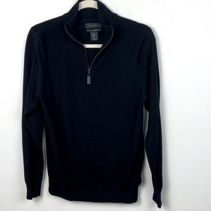 Tahari Black Merino Wool Quarter Zip Sweater Small